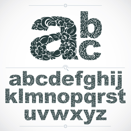 Set of beautiful lowercase letters decorated with herbal ornament. Black and white vector typescript made in floral style.
