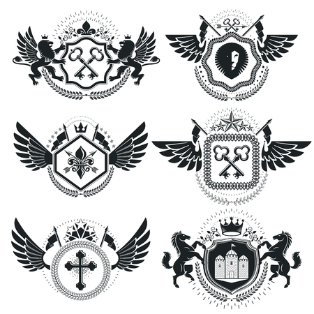 eagle shield and laurel wreath: Heraldic Coat of Arms decorative emblems. Collection of symbols in vintage style.