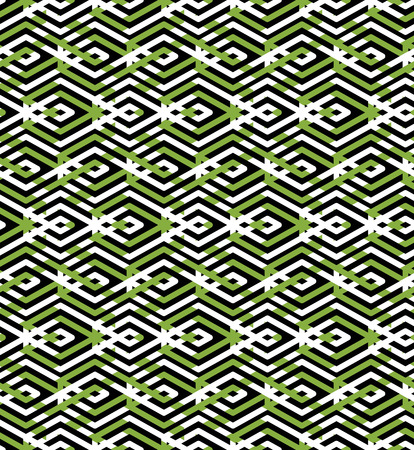 Green abstract seamless pattern with interweave lines. Vector ornament wallpaper. Endless decorative background, visual effect geometric tracery with rhombs.