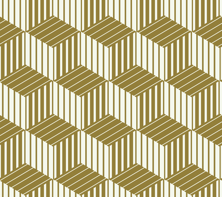 interlace: Graphic simple ornamental tile, vector repeated pattern made using cubes and hexagons. Vintage art abstract seamless texture can be used as wallpaper and in textile design.