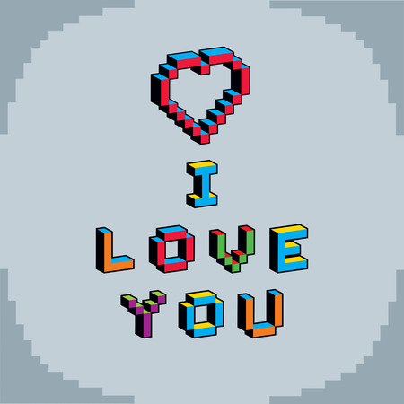 8bit: I love you phrase created in digital technology style, vector 8 bit heart shape. Romance theme pixel art inscription, contemporary Valentine Day card. Illustration