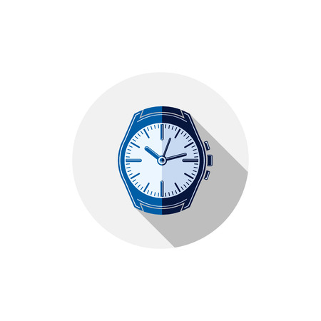 hour hand: Stylish wristwatch illustration, elegant timepiece with dial and an hour hand. Corporate design emblem or web element. Illustration