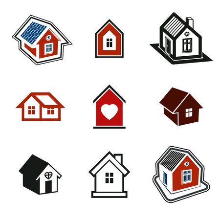 locality: Houses abstract icons. Set of simple buildings, architecture theme vector graphic symbol.