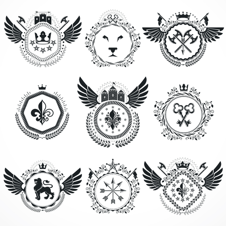 armory: Vector emblems, vintage heraldic designs. Coat of Arms collection, vector set.