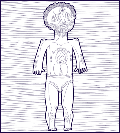 nude man: Vector lined illustration of nude man, Adam concept. Hand drawn image of person isolated on white symbolizing love and freedom.