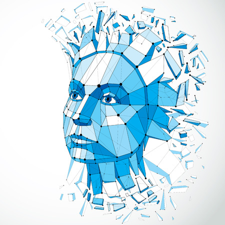 mindful: 3d vector portrait created with lines mesh. Intelligence allegory, blue low poly face with splinters which fall apart, head exploding with ideas, thoughts and imagination.