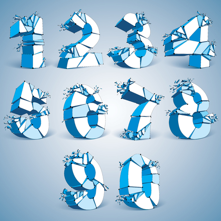 typescript: Set of 3d vector digital wireframe blue numbers from 0 to 9 broken into different particles, geometric polygonal numeration with lines mesh. Low poly shattered typescript, lattice elements.