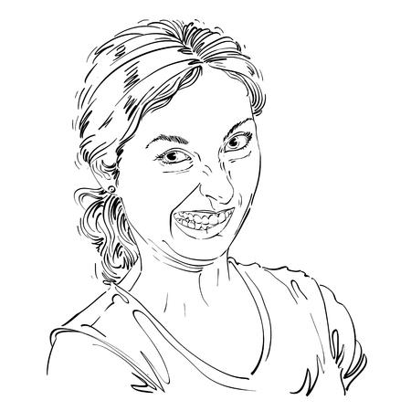 Dibujo vectorial de mujer haciendo una mueca divertida. retrato en blanco y negro de una niña haciendo una cara tonta. Ilustración de vector