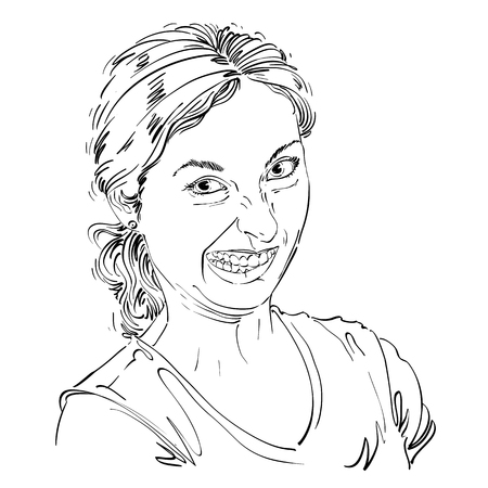 making face: Vector drawing of woman making a funny grimace. Black and white portrait of girl making a silly face. Illustration