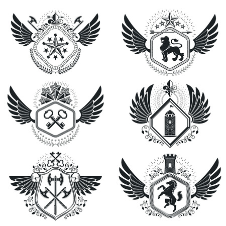 eagle shield and laurel wreath: Heraldic emblems isolated vector illustrations. Collection of symbols in vintage style.