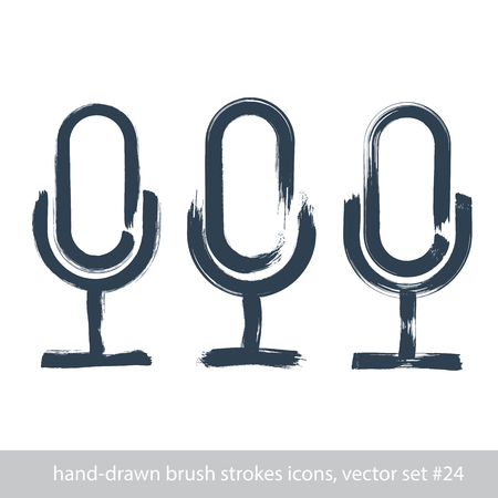 Set of hand-drawn microphone icons, brush drawing multimedia signs, collection of hand-painted stroke mic signs isolated on white background. 向量圖像