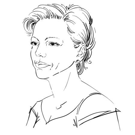 Vector portret van aantrekkelijke vrouw, illustratie van goed uitziende ernstige vrouwelijke. Persoon emotionele gezichtsuitdrukking. Stock Illustratie