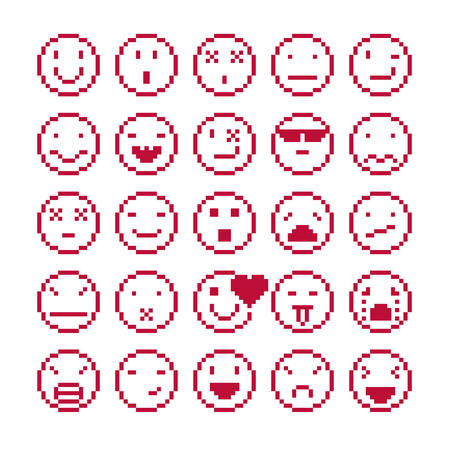 beings: Vector flat 8 bit icons, collection of simple geometric pixel symbols. Simplistic faces of human beings expressing different emotions, digital web signs. Illustration