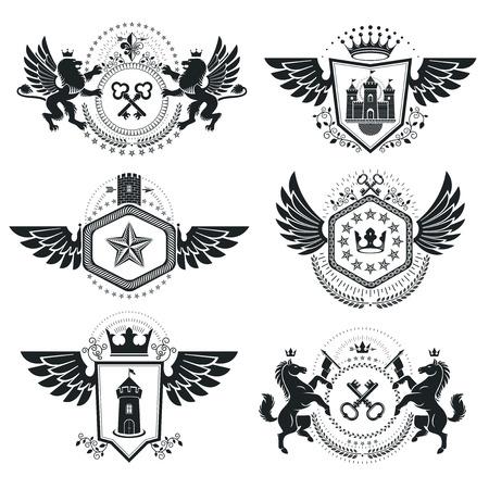 citadel: Vintage decorative emblems compositions, heraldic vectors. Classy high quality symbolic illustrations collection, vector set.