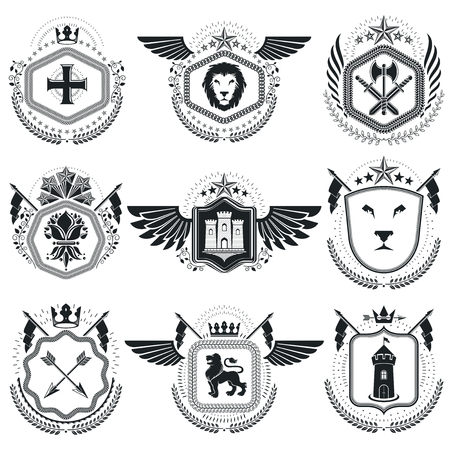 citadel: Heraldic emblems isolated vector illustrations. Collection of symbols in vintage style.