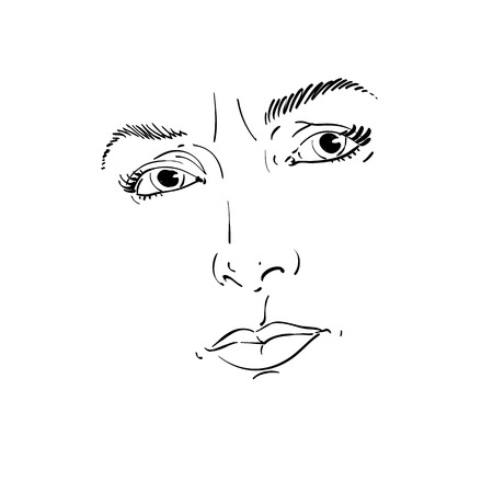 doubtful: Monochrome hand-drawn portrait of white-skin doubtful woman, face features and emotions theme illustration. Angry lady with wrinkles on her forehead posing on white background. Illustration