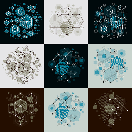 overlie: Bauhaus art composition. Set of decorative modular vector wallpapers with circles and hexagons. Retro style patterns collection, graphic backdrops for use as booklet cover templates. Illustration