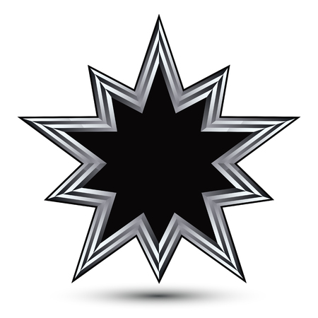 Vector stylized symbol isolated on white background.  Glamorous black polygonal star with silver outline, clear EPS 8, heraldic decorative 3d insignia. Reward conceptual icon.