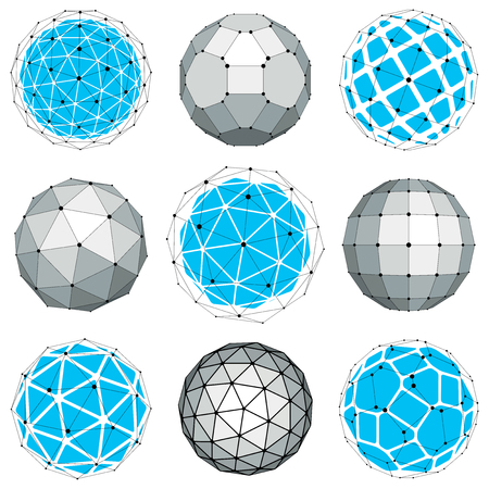 gray netting: Set of abstract 3d faceted figures with connected lines. Vector low poly design elements collection, scientific concept. Cybernetic orb shapes with grid and lines mesh, network structure.