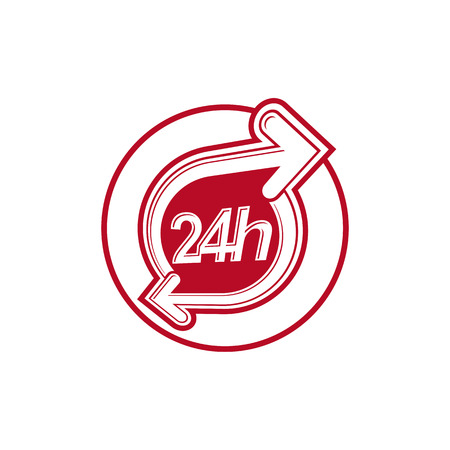 around the clock: 24 hours-a-day concept, clock face with a dial and an arrow around. Day-and-night interface icon, for use in web design. Illustration