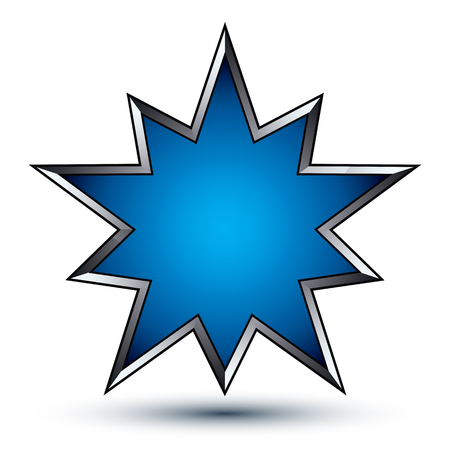Vector stylized symbol isolated on white background.  Glamorous blue polygonal star with silver outline, clear EPS 8, heraldic decorative 3d insignia. Reward conceptual icon.