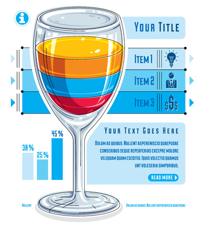 visualize: Creative infographics concept, 3d wineglass with three layered liquid idea, cocktail, vector illustration.