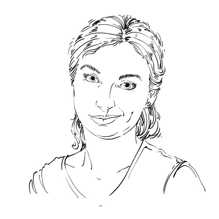 skeptic: Hand-drawn vector illustration of beautiful skeptic woman, I do not believe you. Monochrome image, expressions on face of young lady, doubter.