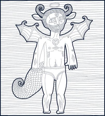Vettoriale disegnata a mano illustrazione grafica foderato di carattere simbolico, cartone animato uomo nudo con le ali, parte animale dell'essere umano. San concetto di spirito, disegno allegoria artistica.