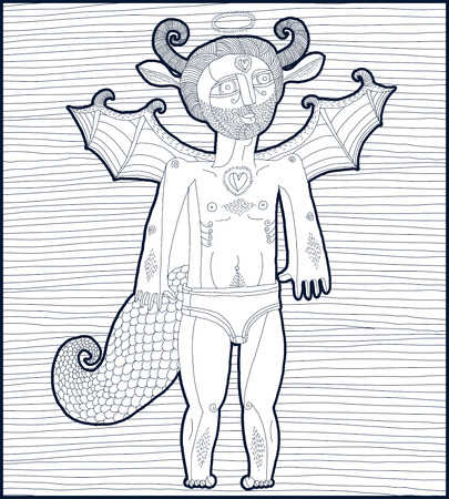 nude man: Vector hand drawn graphic lined illustration of symbolic character, cartoon nude man with wings, animal side of human being. Saint spirit concept, artistic allegory drawing.