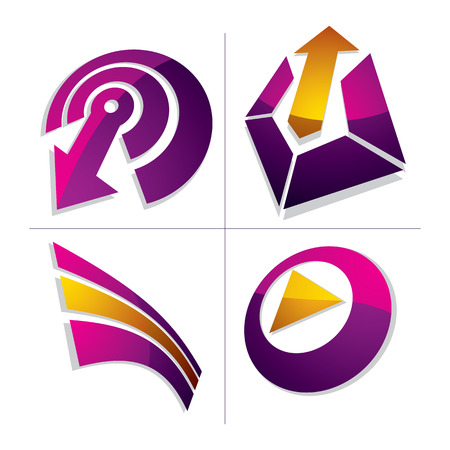 Set of three-dimensional abstract icons, play sign, special arrow. 3d vector push button, multimedia arrow symbol isolated on white background. Collection of graphic elements. Illustration