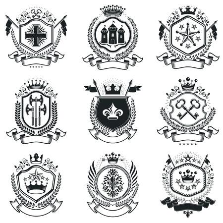 Vintage Heraldry Design Templates, Vector Emblems. Collection ...