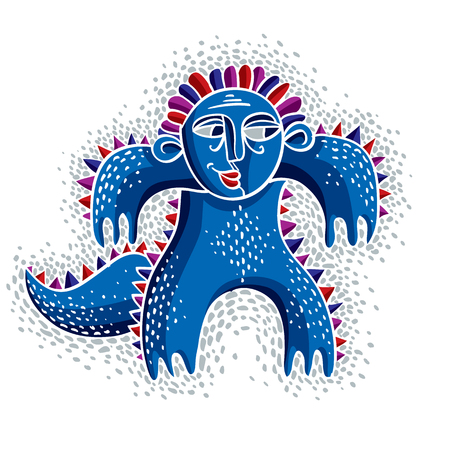 mythic: Vector cool cartoon smiling monster, simple weird blue creature. Clipart mythic character for use in graphic design and as mascot.