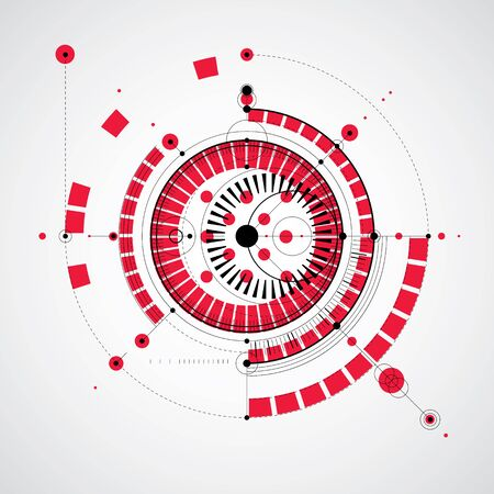 technical drawing: Technical drawing made using dashed lines and geometric circles. Vector wallpaper created in communications technology style, engine design.