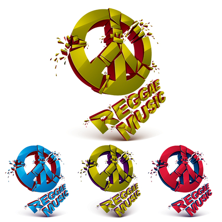 Green, blue and orange 3d vector peace signs collection created from refractions isolated on white. Set of reggae music theme three-dimensional transform design elements.