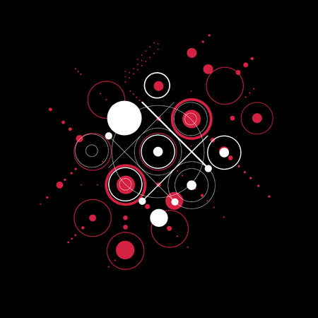 Vector red abstract background created in Bauhaus retro style. Modern geometric composition can be used as templates and layouts.