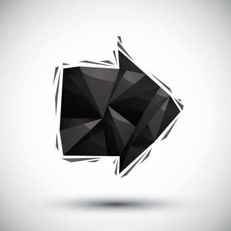 Black arrow geometric icon made in 3d modern style, best for use as symbol or design element for wb or print layouts.