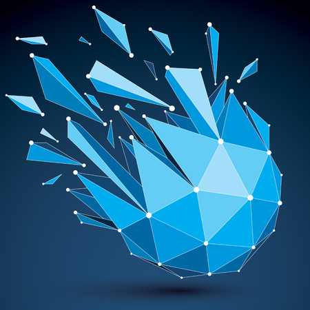 demolished: Vector dimensional wireframe luminescent object with blue connected lines, spherical demolished shape with refractions and wreckage. 3d mesh global technology element broken into pieces.