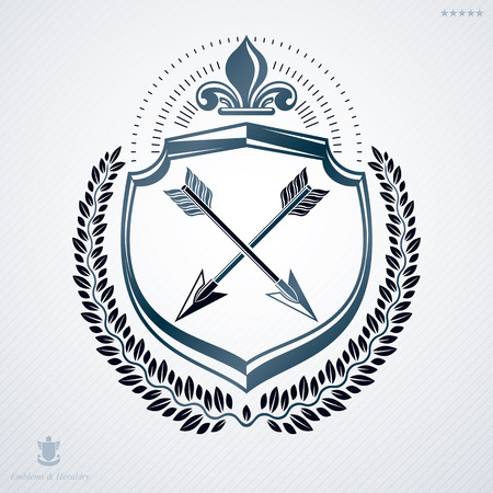 armory: Heraldic Coat of Arms made with graphic elements, vector illustration created in vintage design.