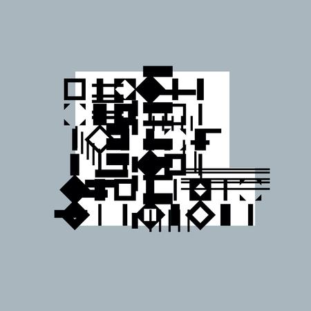 Abstract graphic art, vector geometric illustration. Ilustração Vetorial