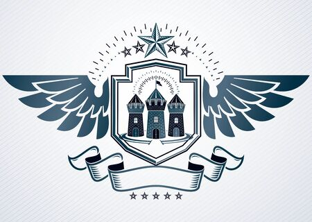 Vector illustration of old style heraldic emblem made with pentagonal stars and medieval tower Illustration