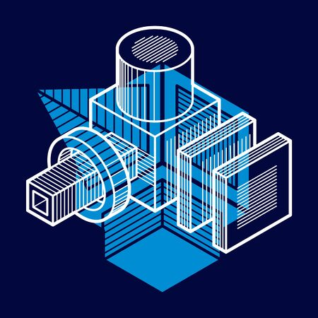 genuine: 3D engineering vector, abstract shape made using cubes and geometric forms.
