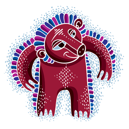 Vector cute Halloween character ogre, fictitious creature. Cool illustration of freak red monster. Illustration