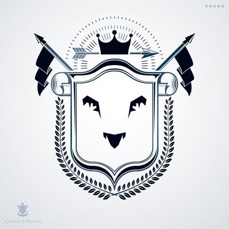 blazon: Luxury heraldic vector template. Vintage blazon. Illustration