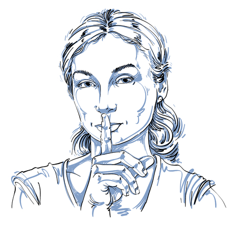 Vector art drawing, portrait of peaceful girl making a hush sign with her finger. Facial expressions, people emotions. Be quiet theme, be still illustration.