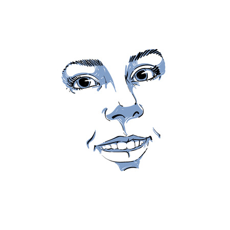 features: Facial expression, hand-drawn illustration of face of a girl with positive emotional expressions. Beautiful features of lady visage.