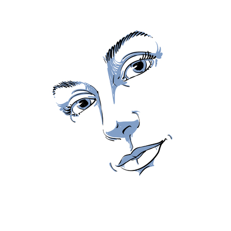 Hand-drawn art portrait of white-skin romantic woman, face emotions theme illustration. Beautiful lady posing on white background, delicate visage features.
