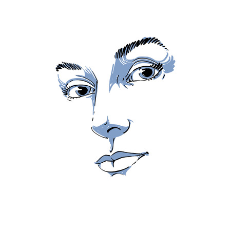 features: Hand-drawn art portrait of white-skin romantic woman, face emotions theme illustration. Beautiful lady posing on white background, delicate visage features.