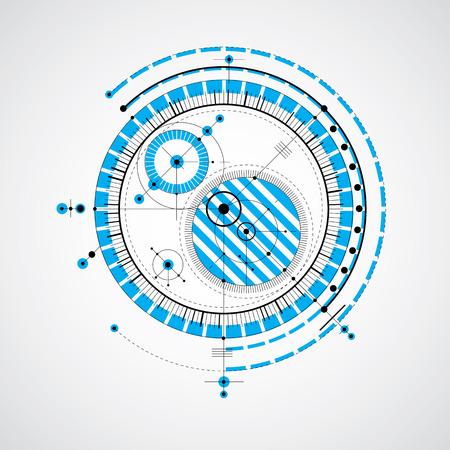 dibujo tecnico: Dibujo técnico realiza mediante líneas de puntos y círculos geométricos. vector de papel tapiz azul creado en el estilo de la tecnología de las comunicaciones, el diseño del motor.