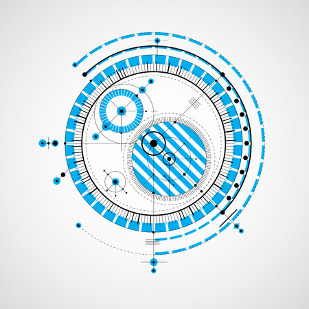 technical drawing: Technical drawing made using dashed lines and geometric circles. Blue vector wallpaper created in communications technology style, engine design. Illustration
