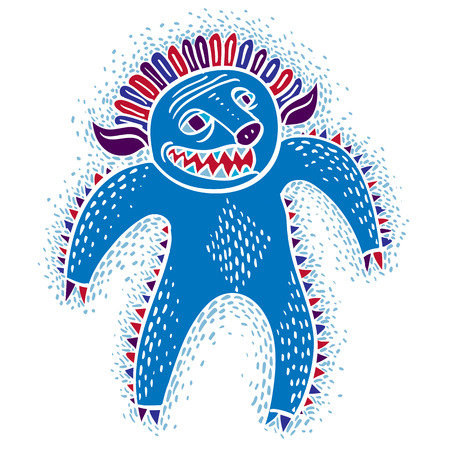 snoot: Character angry monster vector flat illustration, cute blue mutant. Drawing of weird beast, emotional expression.